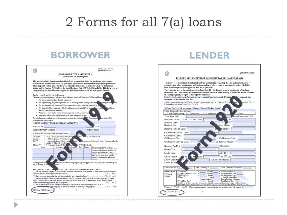 2 Forms for all 7(a) loans BORROWER LENDER Form 1919 Form1920