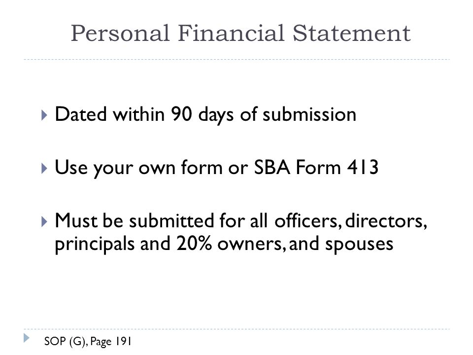 personal financial statement sba 2015 Personal financial statement section i other income of other person i/we furnish the foregoing as a true and accurate statement of my/our financial condition.