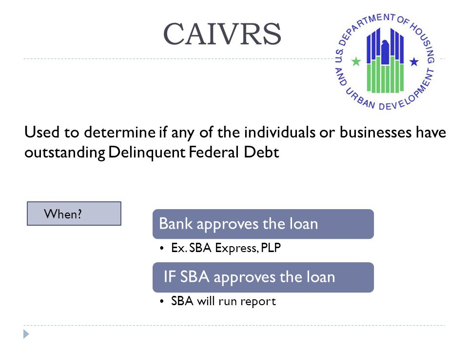 CAIVRS Used to determine if any of the individuals or businesses have outstanding Delinquent Federal Debt.