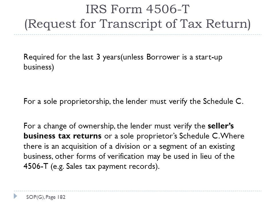 IRS Form 4506-T (Request for Transcript of Tax Return)