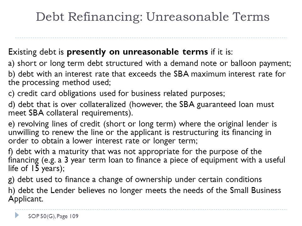 Debt Refinancing: Unreasonable Terms