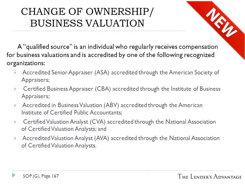 CHANGE OF OWNERSHIP/ BUSINESS VALUATION