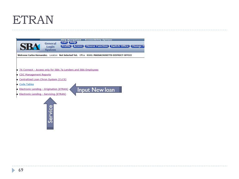 ETRAN Input New loan Service
