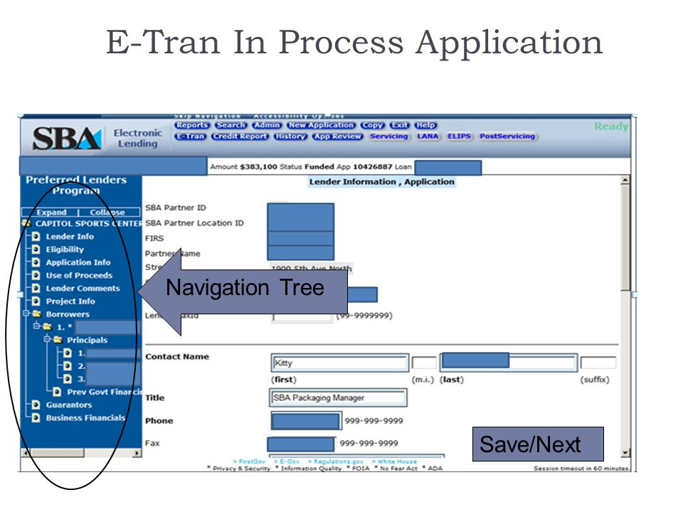 E-Tran In Process Application