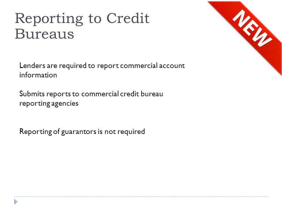 Reporting to Credit Bureaus