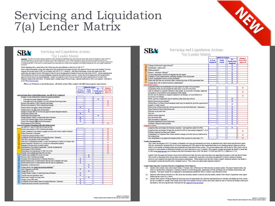 Servicing and Liquidation 7(a) Lender Matrix