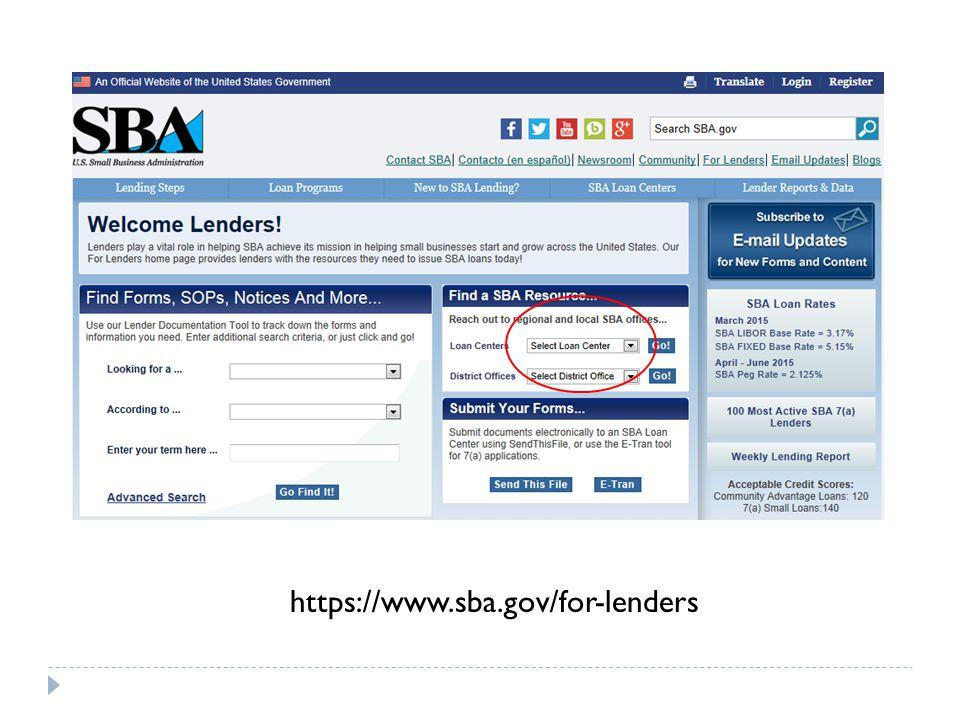 https://www.sba.gov/for-lenders