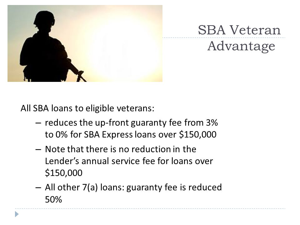 SBA Veteran Advantage All SBA loans to eligible veterans: