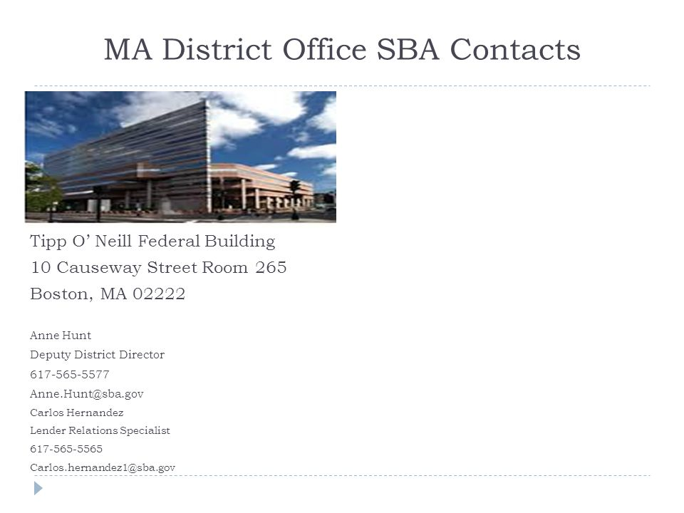 MA District Office SBA Contacts