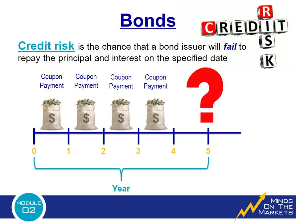 Bonds Credit risk is the chance that a bond issuer will fail to repay the principal and interest on the specified date.