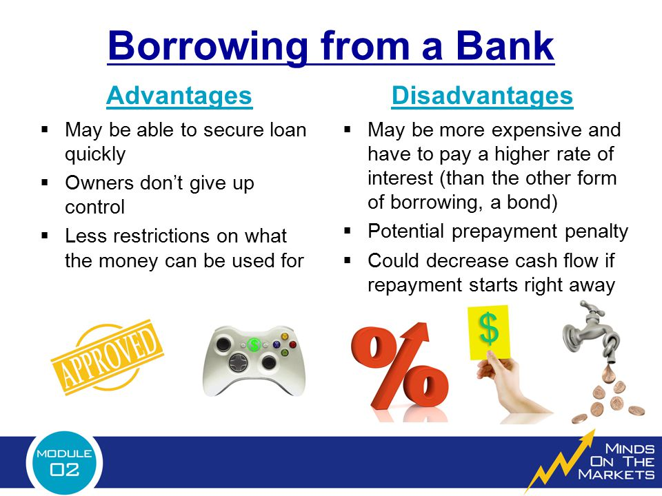 Borrowing from a Bank Advantages Disadvantages
