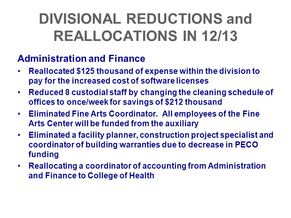 DIVISIONAL REDUCTIONS and REALLOCATIONS IN 12/13