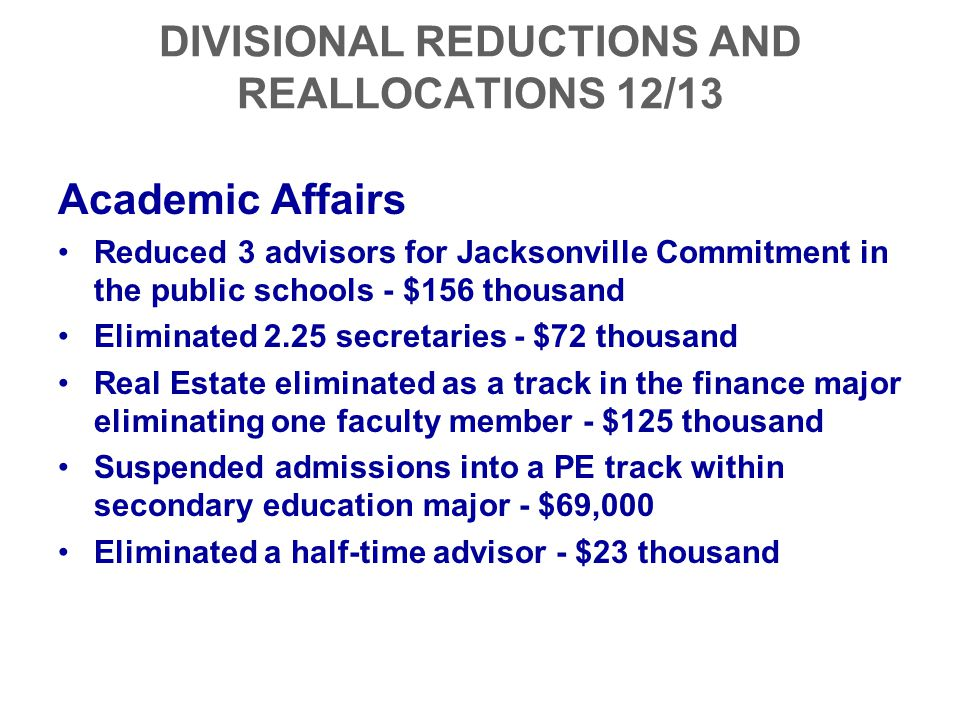 DIVISIONAL REDUCTIONS AND REALLOCATIONS 12/13