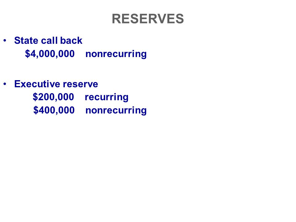 RESERVES State call back $4,000,000 nonrecurring Executive reserve