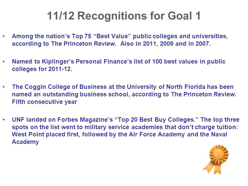 11/12 Recognitions for Goal 1