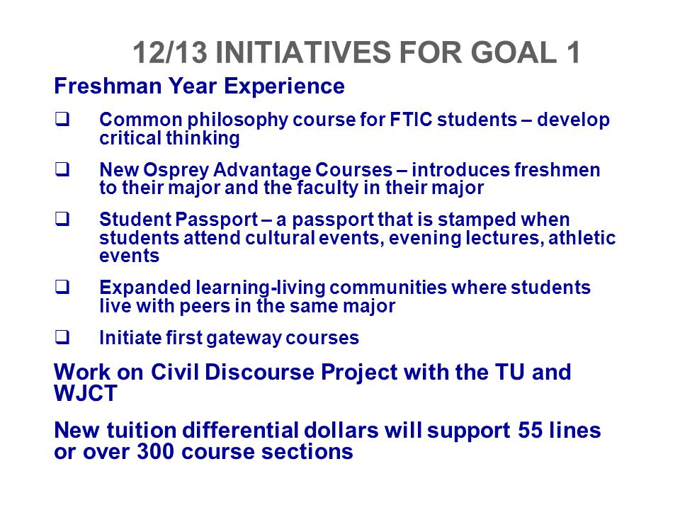 12/13 INITIATIVES FOR GOAL 1 Freshman Year Experience
