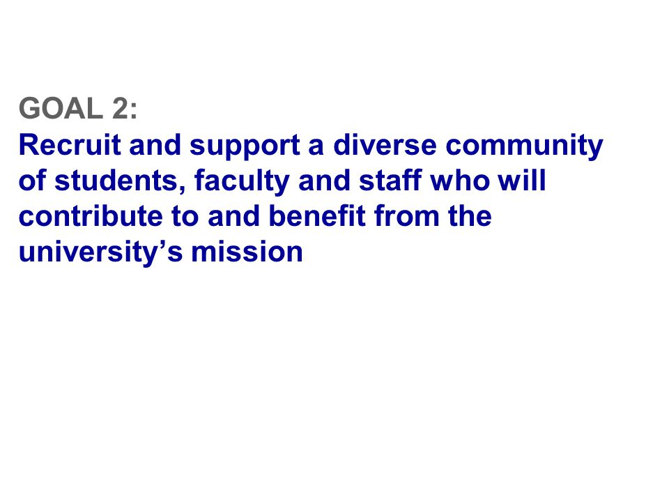 GOAL 2: Recruit and support a diverse community of students, faculty and staff who will contribute to and benefit from the university's mission