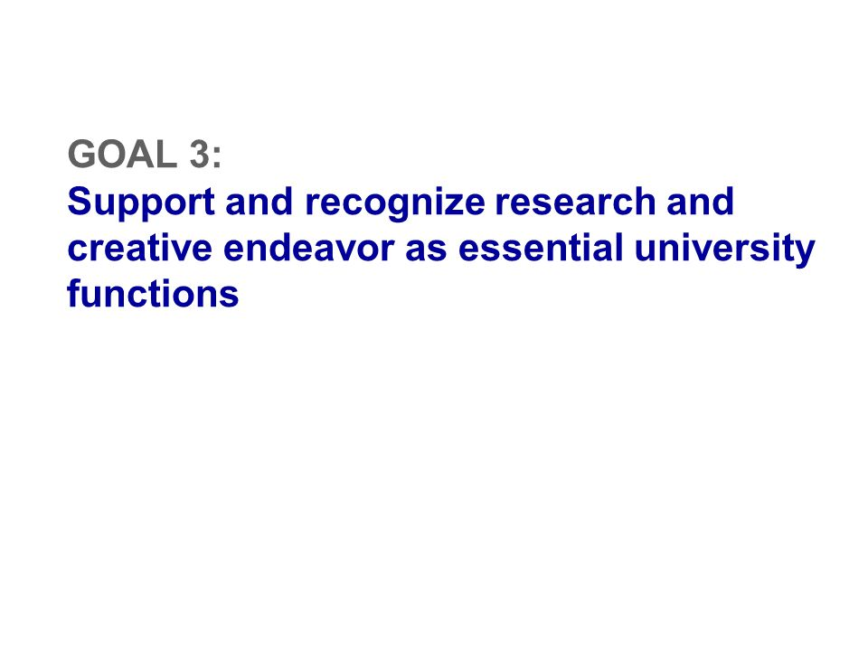 GOAL 3: Support and recognize research and creative endeavor as essential university functions