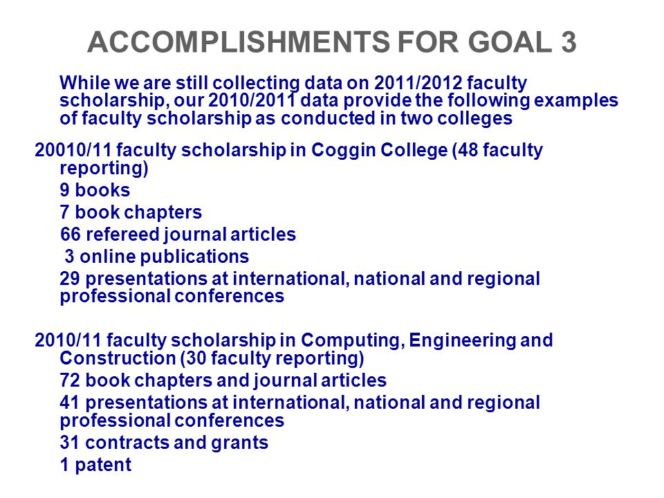ACCOMPLISHMENTS FOR GOAL 3