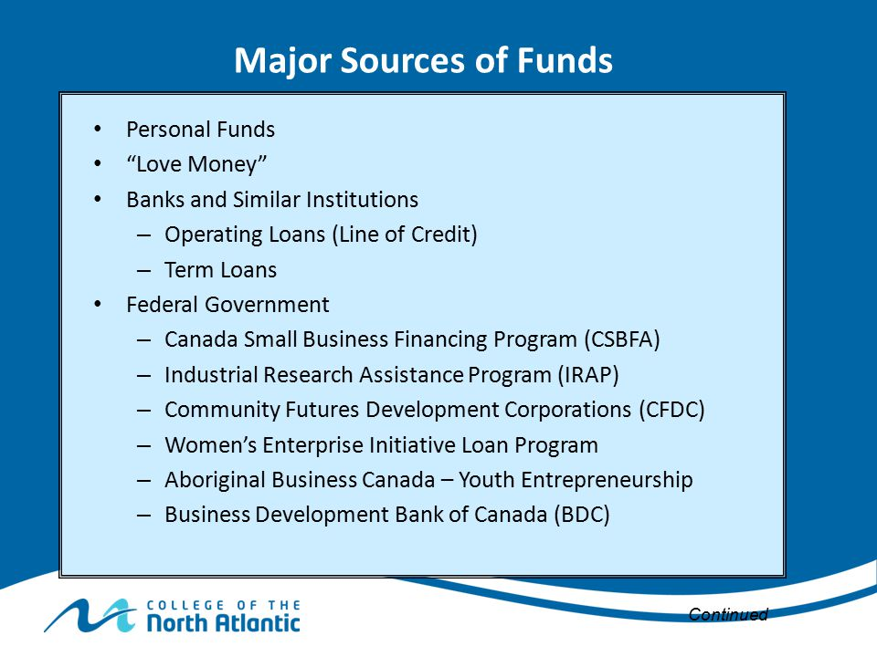Major Sources of Funds Personal Funds Love Money
