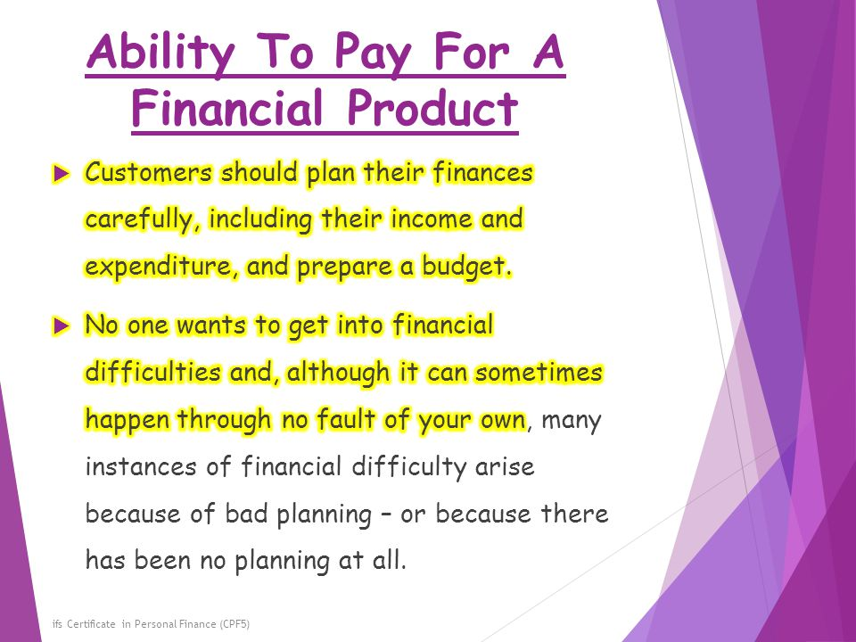 Ability To Pay For A Financial Product
