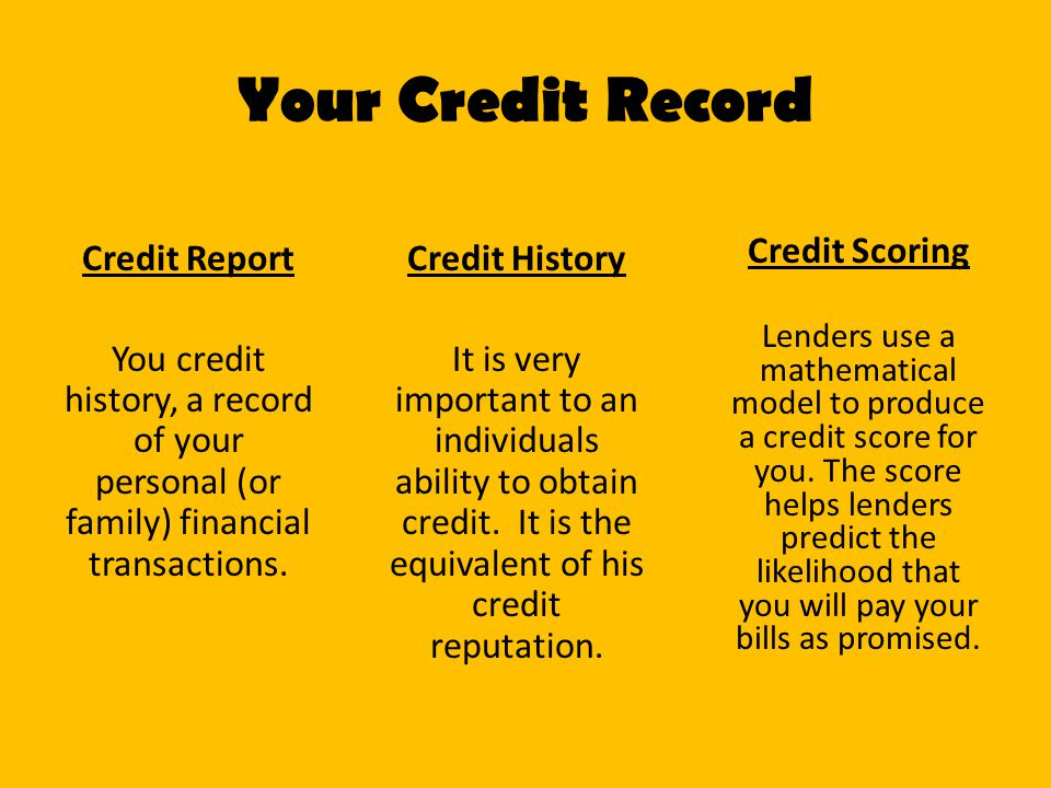 Your Credit Record Credit Report You credit history, a record of your personal (or family) financial transactions.