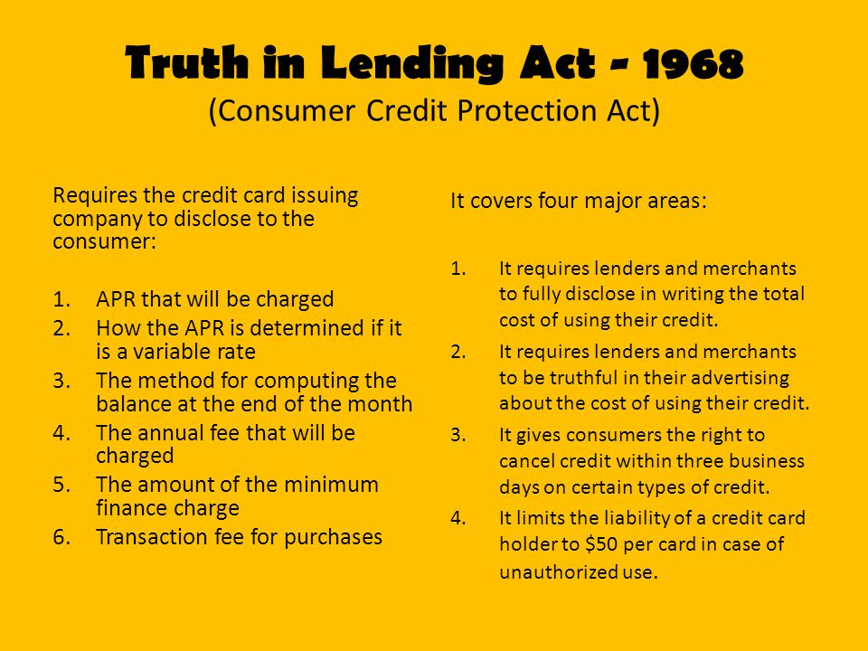 Truth in Lending Act (Consumer Credit Protection Act)