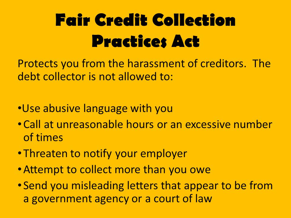 Fair Credit Collection Practices Act
