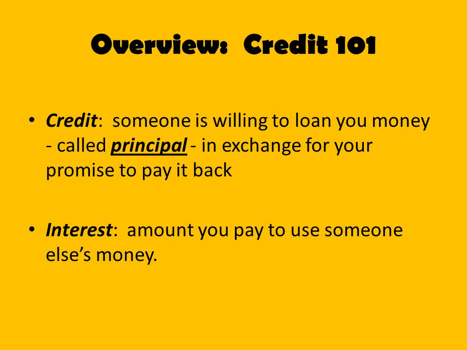 Overview: Credit 101 Credit: someone is willing to loan you money - called principal - in exchange for your promise to pay it back.