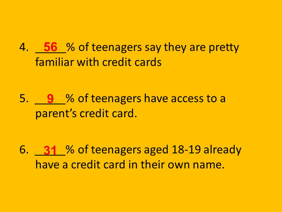 _____% of teenagers say they are pretty familiar with credit cards