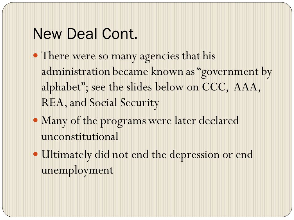 New Deal Cont.