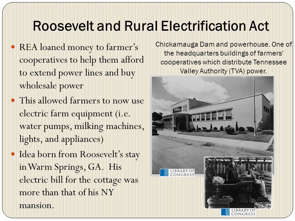 Roosevelt and Rural Electrification Act