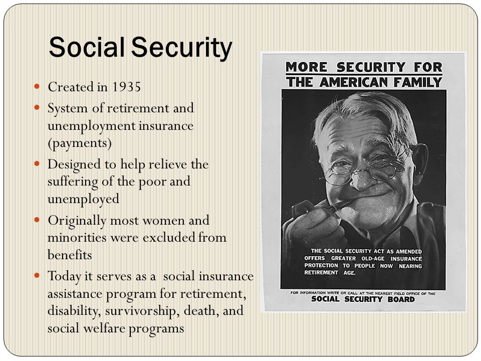 Social Security Created in 1935