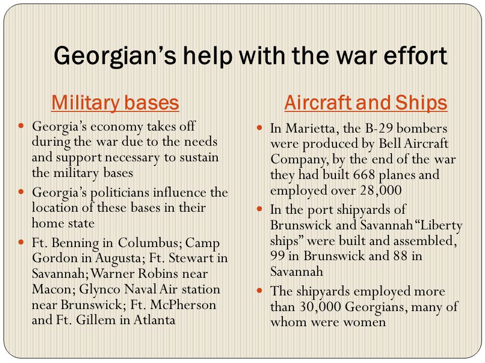 Georgian's help with the war effort