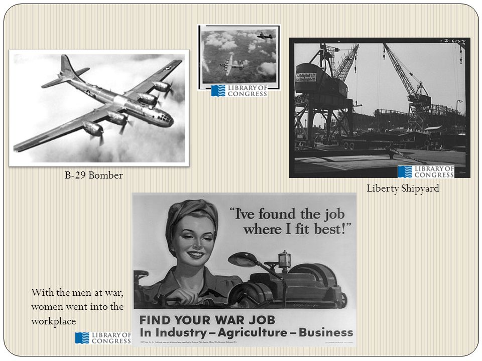 B-29 Bomber Liberty Shipyard With the men at war, women went into the workplace
