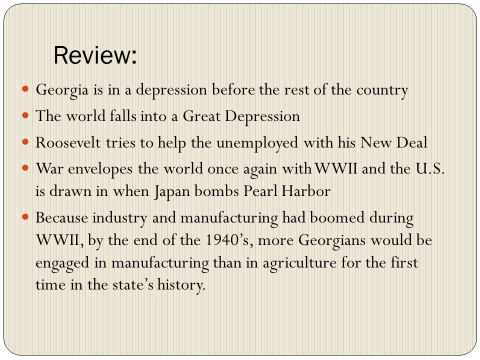 Review: Georgia is in a depression before the rest of the country