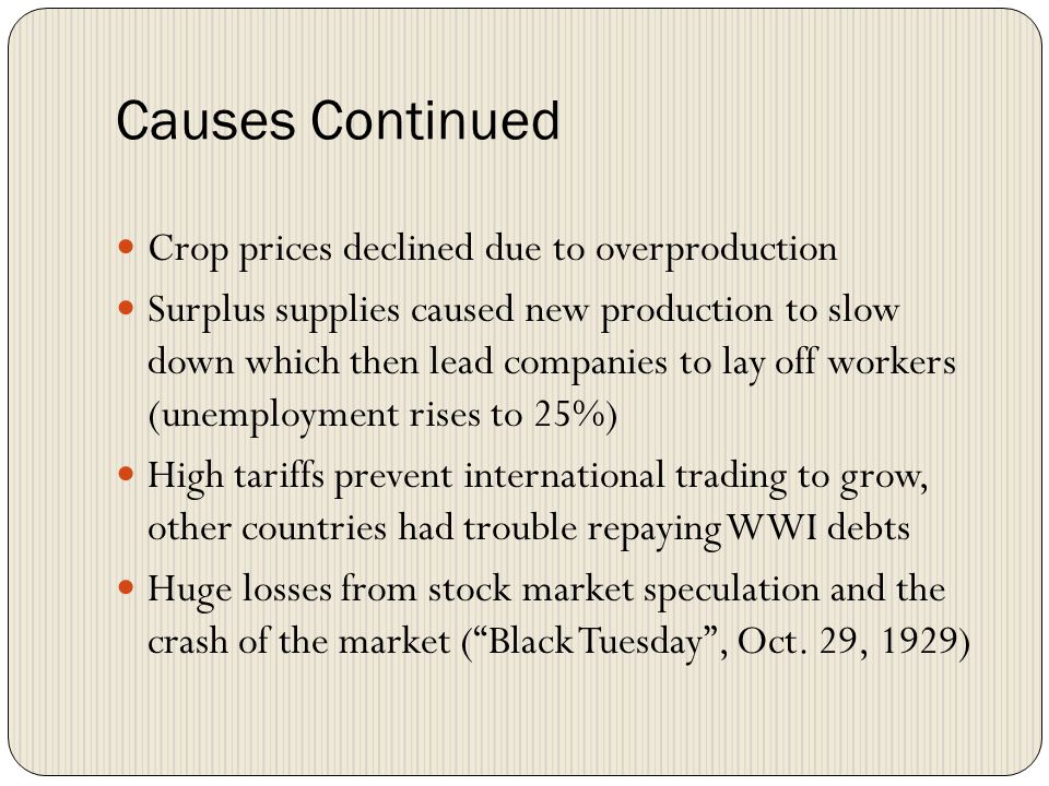 Causes Continued Crop prices declined due to overproduction