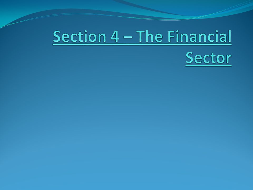 Section 4 – The Financial Sector