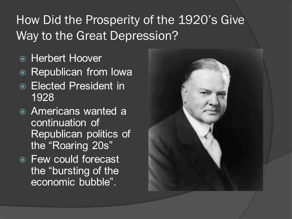 How Did the Prosperity of the 1920's Give Way to the Great Depression