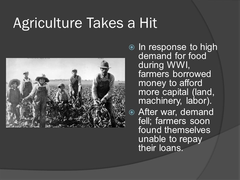 Agriculture Takes a Hit
