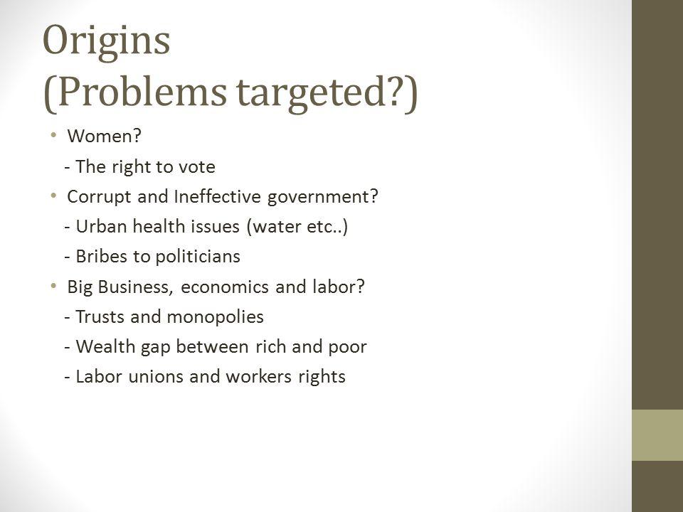 Origins (Problems targeted )