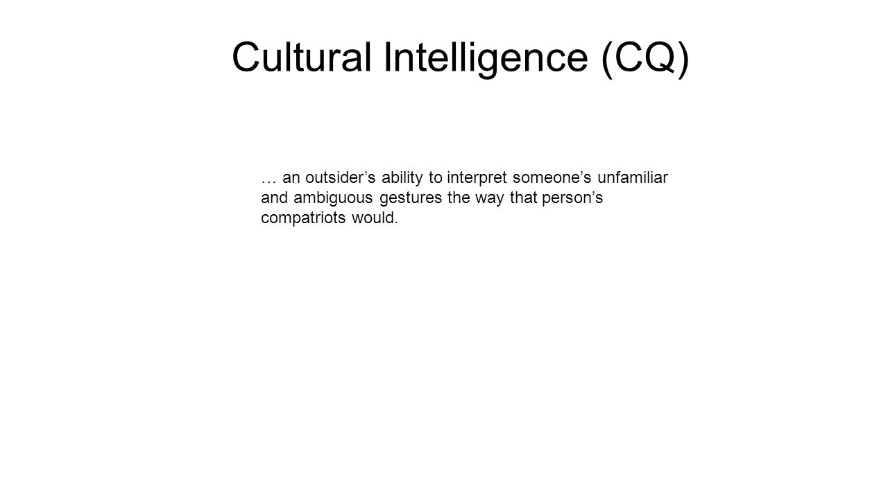 Cultural Intelligence (CQ)