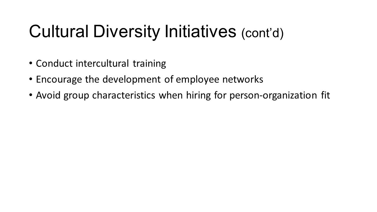 Cultural Diversity Initiatives (cont'd)