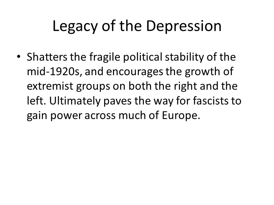 Legacy of the Depression