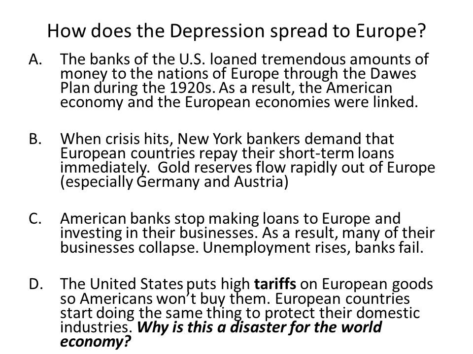 How does the Depression spread to Europe