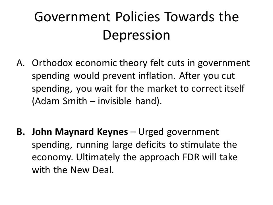 Government Policies Towards the Depression