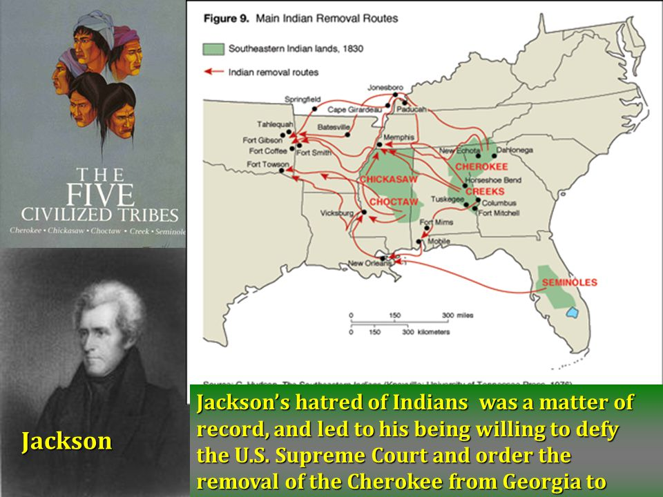 Jackson's hatred of Indians was a matter of record, and led to his being willing to defy the U.S. Supreme Court and order the removal of the Cherokee from Georgia to Oklahoma