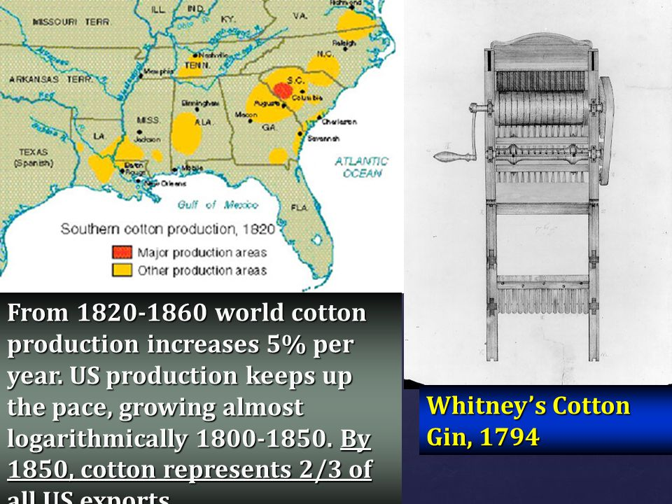 From 1820-1860 world cotton production increases 5% per year
