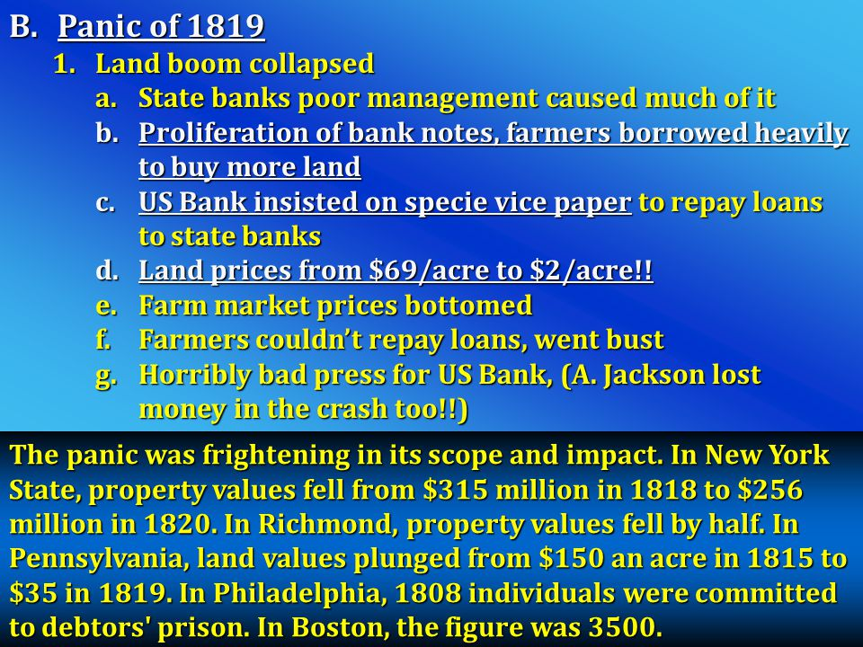 Panic of 1819 Land boom collapsed