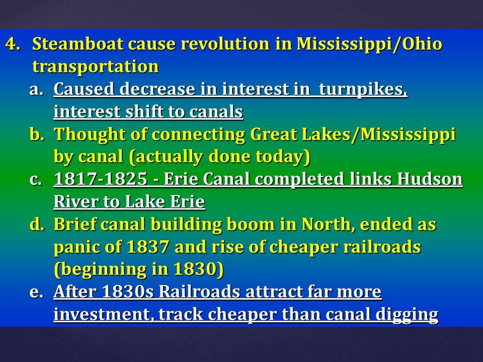 Steamboat cause revolution in Mississippi/Ohio transportation